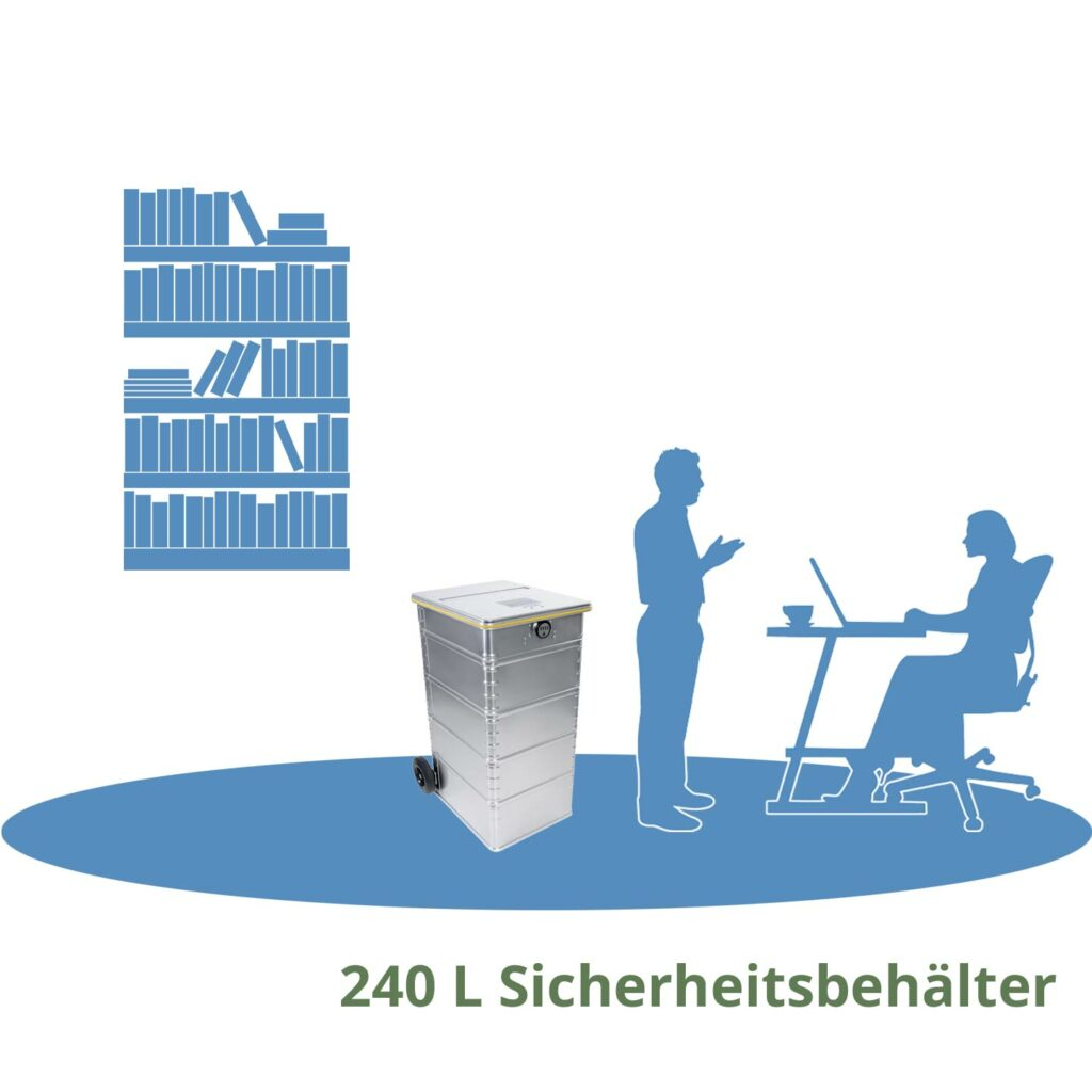 240L Sicherheitsbehälter für Archivräumung München