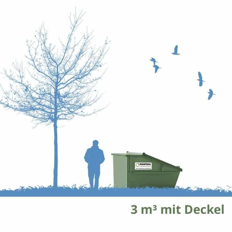 rohprog 3m³ abfallcontainer mit deckel München
