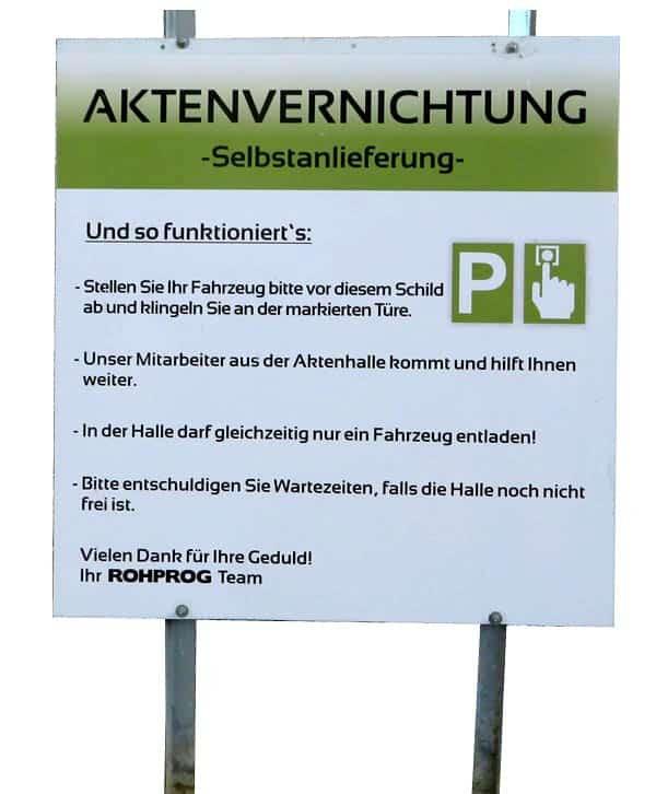 Selbstanlieferung Akten München