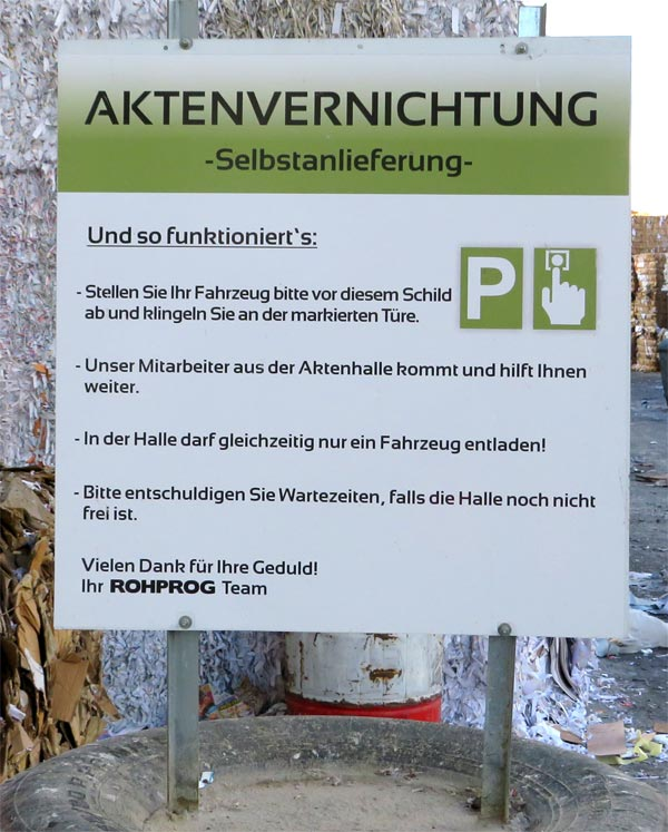 Selbstanlieferung Aktenvernichtung München