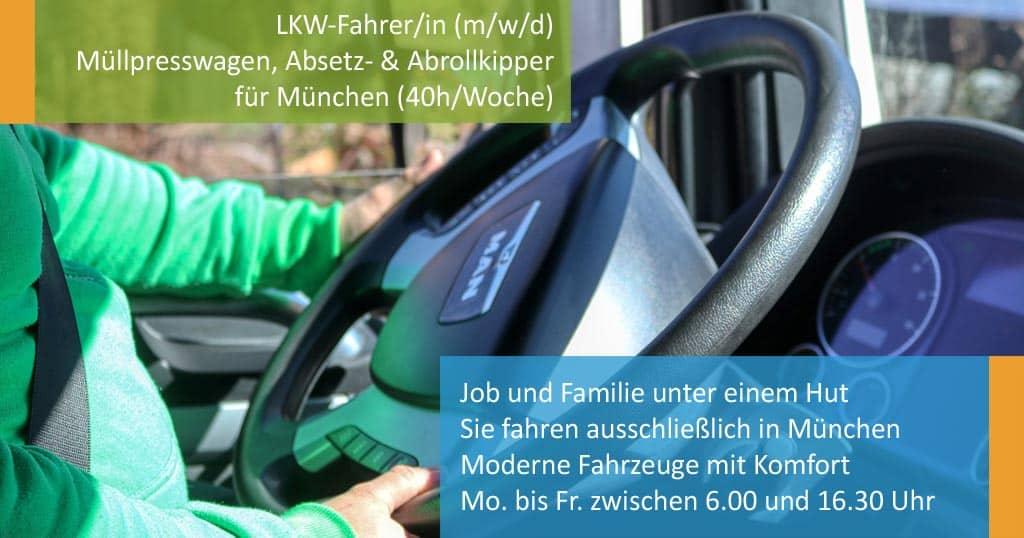 ROHPROG Stellenangebot - LKW-Fahrer/in (m/w/d) für Müllpresswagen sowie Absetz- und Abrollkipper für München (40h/Woche)