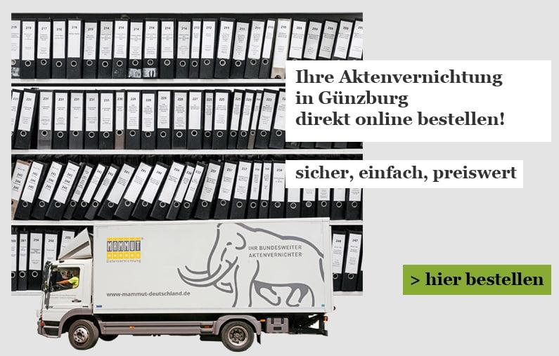 Aktenvernichtung für Günzburg Onlineshop